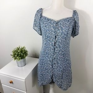 Nasty Gal Blue Floral Button Front Mini Dress 6